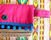 Clutch Purse in Gypsy  Pink, Red, Violet - Gypsy Mexican Handmade with Jute and Cotton