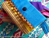 Boho Clutch Purse Blue - Gypsy Mexican Handmade with Jute, Cotton and Pompom - Bohemian