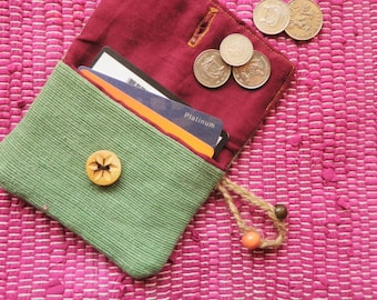 Coin Purse Handmade in Apple Green and Red with Folk Flower Wooden Button