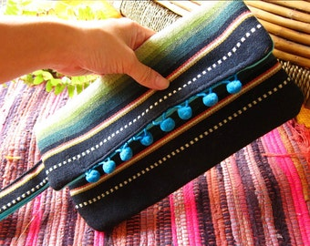 Clutch Purse Wallet - Indie Mexican Colorful Striped Purse with Happy Blue Pompom