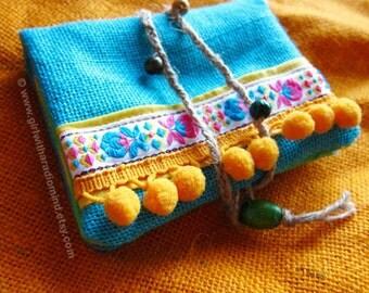 Hemp Jute Wallet Passport Size - Blue Jute Purse - Traveling Folksy Card Holder with Boho Free Spirit Yellow Pompom