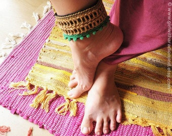 Boho Anklet / Gypsy Cuff Bracelet - Free Size - Hemp, Black, Kelly Green Trims - Adjustable to any size