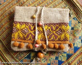 Travel Wallet Passport Size in Harvest Brown - Hippie Jute Purse - Earthy Autumn Nutmeg Brown and Sunshine Yellow
