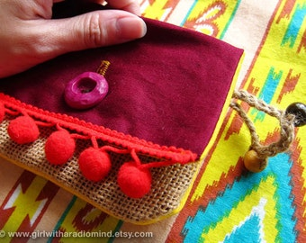 Red Purse - Indian Gypsy / Maroon Indie Jute Navajo Card Holder with Pompom