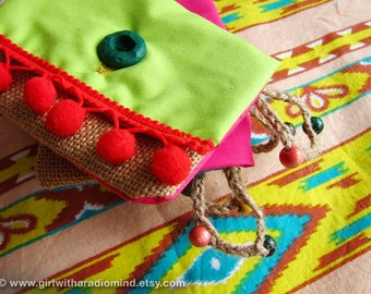 Lime Green Coin Purse - Jute  with Red Pompom / Green Indie Gypsy Coin and Card Holder