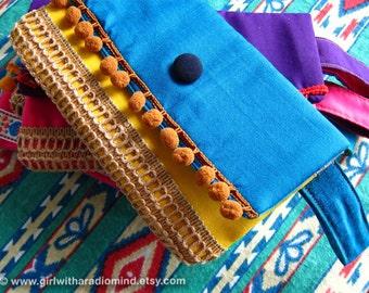 Boho Clutch Purse Blue - Gypsy Mexican Handmade with Jute, Cotton and Pompom - Bohemian