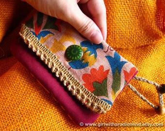 Crossbody Bag OR Small Purse in Boho Folk Earthy Pink - Free Spirit Lola Flower Purse with Hemp Trims (Chose Design in Your Preferred Size)