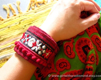 Red Boho Anklet / Wristlet - Free Size - Adjustable to any size - Floral Embroidery Cotton Bracelet / Wrist Band