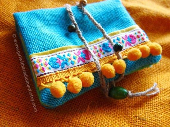 Passport Wallet - Blue Jute Purse - Traveling Folksy Card Holder with Boho Free Spirit Yellow Pompom
