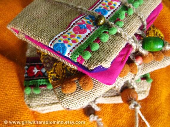 Boho Passport Wallet - Bohemian Jute Pink Folk Traveler Jute Hemp Purse
