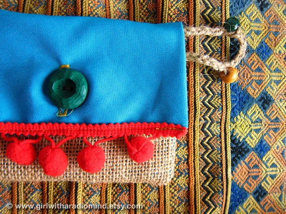 Coin Purse in Blue Turquoise with Red Pompom - Jute and Cotton Coin Card Holder