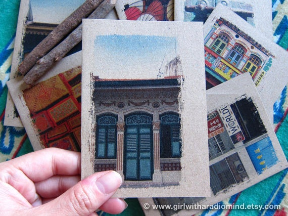 Mini Notebook 25. Singapore Small Traveler Journal - Singapore Shophouse Inspirations in your Pocket Windows
