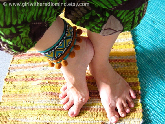 Boho Anklet Bracelet  / Indie Blue Navajo Cuff - Free Size - Adjustable to any size - Lightweight Hippie Wristlet