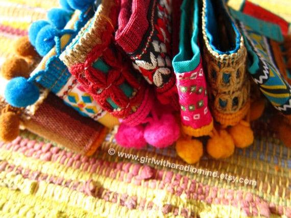 Boho Anklet / Bohemian Blue Gypsy Hemp Cuff Bracelet with Yellow Pompom Trims - Adjustable to any size - Free Size