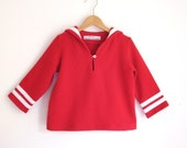SWEATER AHOI, Red Children's Sailor Sweatshirt With White Stripes, Long Sleeves, Cosy Soft Cotton Sweater, Sportive Maritime, Autumn, Comfy