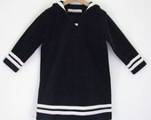 DRESS DAYLIE CORDUROY, Navy-Blue Girl's Corduroy Sailor Dress With White Stripes, Long Sleeves, A-Shape, Knee-Length, Cotton,Maritime Winter