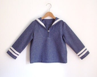 SHIRT AHOI, Long-Sleeve Children's and Babies' Denim Sailor Shirt With White Stripes, Long Sleeves, Loose Fit, Blue Jeans Shirt, Retro Style