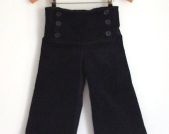 PANTS AHOI CORDUROY, Navy Blue Children's And Babies' Corduroy Sailor Pants, Long Wide Legs, Sailor Flap Button Closure, Cotton Elastic