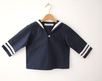 SHIRT AHOI, Navy Blue Long-Sleeve Children's and Baby's Sailor Shirt with White Stripes, for Maritime Baptism, Wedding, Family Portrait