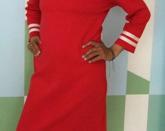 DRESS DAYLIE JERSEY pour Maman, Red Cotton Jersey Women's Sailor Dress With White Stripes,Slim Fit, Three-Quarter Sleeves, Sailor Collar,