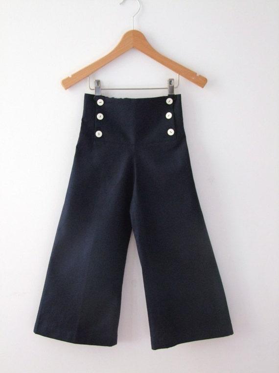 PANTS AHOI, Navy Blue Children's and Babies' Sailor Pants, Wide Legs, Sailor Flap with Button Closure, Cotton Linen Blend, Maritime Baptism