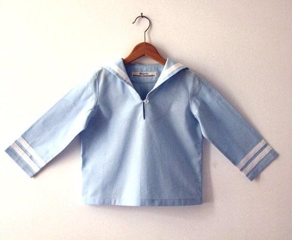 SHIRT AHOI, Light Blue Long-sleeve Babies' and Children's Sailor Shirt With White Stripes, Maritime Baptism, Summery Wedding, Family Portait
