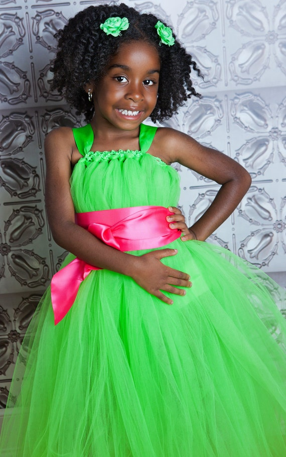 Lime Green Flower Girl Tutu Dress with Customizeable Sash
