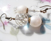 Pearl Earrings - Clear Crystal Czech Glass Beads, White Freshwater Pearls, Antiqued Brass Hooks