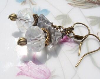 Crystal  Earrings - Swarvoski Crystal Beads, Silver Flower Bead, Antiqued Brass Hooks