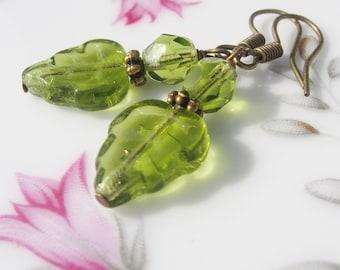 Green Earrings - Peridot Czech Glass Leaf Beads, Antiqued Brass Hooks