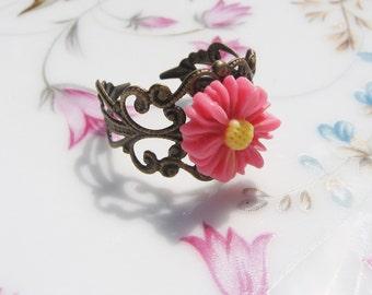 Pink Flower Ring - Antiqued Brass