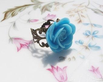 Light Blue Rose Antiqued Brass Ring