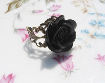 Black Rose Antiqued Brass Ring