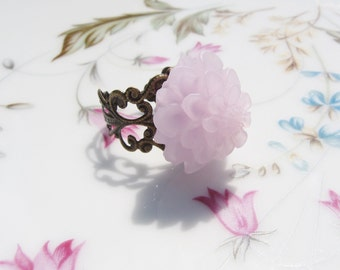 Lavender Flower Brass Ring