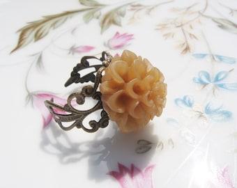 Brown Flower Brass Ring