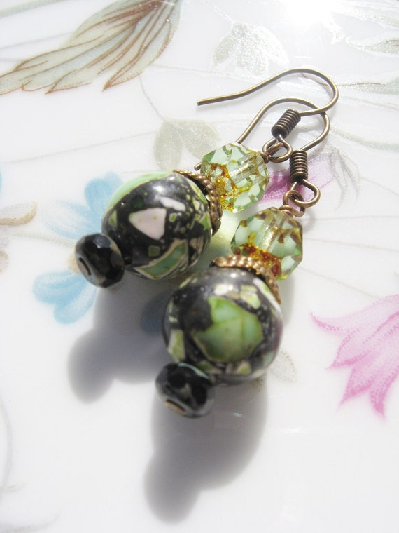 Green Mosaic Glass Beaded Earrings