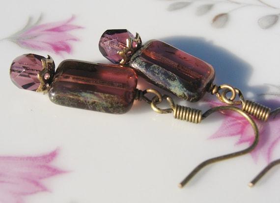 Purple Tablet Bead Earrings - Antique Brass