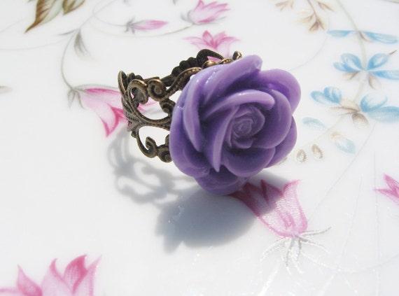 Lavender Rose Antiqued Brass Ring