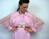Pink Dress Set Sheer Sleeves Jacket Dream Date Extra Large Plus Evening