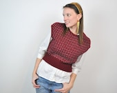 Burgundy Scholars Vest, Sweater Knit Maroon Merlot School Cute White Pattern Small