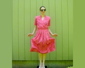 Hot Pink 80s Dress White Pattern Throwback Retro Fun Small