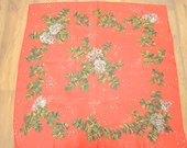 Red Green Scarf Christmas Winter Pine Cones Tree Square