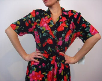 Resort Wrap Dress Colorful 80s Deadstock New Old Stock Cute Small