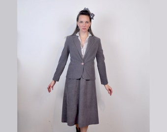 Gray Velour Suit Jacket Over One Piece Dress Small