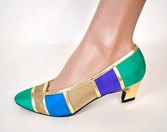 Sz 6 / 6.5 - Color Block High Heels by Impo Great 80s Shoes