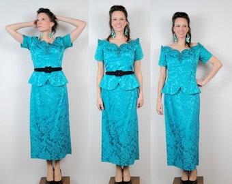 Turquoise Brocade Dress Glitter Peplum 80s Medium