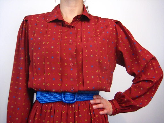 Shhhh, Library Dress 70s 80s Secretary Burgundy Maroon Pattern Classic Medium Large