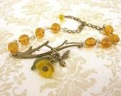 Honey Bee Bracelet with Amber Glass Beads
