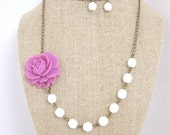 Flower Necklace - Pink Necklace Bridesmaid Jewelry Wedding Jewelry