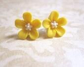 Yellow Earrings Flower Earrings Mustard Earrings Yellow Jewelry Post Earrings Flower Studs